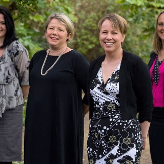 Jo Cook (centre right) with members of Coodes' Business Services team (L-R) Kirsty McAuley (Solicitor, Corporate & Commercial), Helen Willett (Partner and Head of Commercial Property), and Sonya Bassett (Partner and Head of Corporate & Commercial).