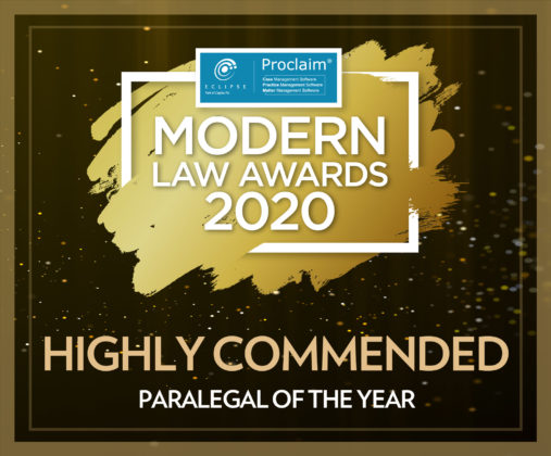 Machaela O'Brien award - highly commended Paralegal of the Year