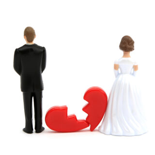 Husband and wife with broken heart between them representing divorce